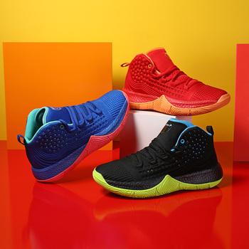Outdoor koszykówka Unisex buty wysokiej jakości Trend trampki dla mężczyzn antypoślizgowa gumowa podeszwa buty sportowe kosz zapatos de hombre tanie i dobre opinie CAMELJINGE CN (pochodzenie) Buty do koszykówki Średnie (b m) RUBBER Cotton Fabric f13 Men Basketball Shoes Formotion