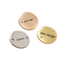 Stainless Steel Round Charm Custom Your Own Logo 15mm Two Hole Polish Mirror Surface Charms Connector Diy Pendant 50pcs/lot