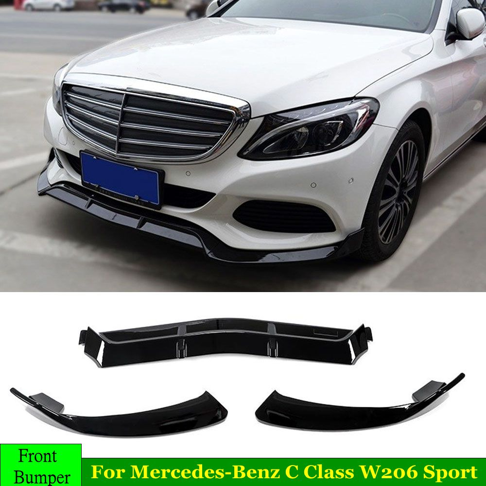 3Pcs <font><b>W205</b></font> Car Front Lip Chin <font><b>Bumper</b></font> Lip Spoiler Splitters Body Kit For Mercedes <font><b>Benz</b></font> C Class <font><b>W205</b></font> Sport C250 C300 C350 2015-2019 image