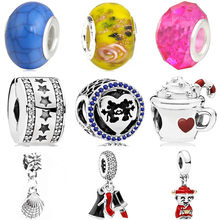 Hot Sale Crystal Cake Owl Cup Lipstick Shoes Shell Elephant Mickey Beads Fit Original Pandora Charms for Women DIY Jewelry(China)