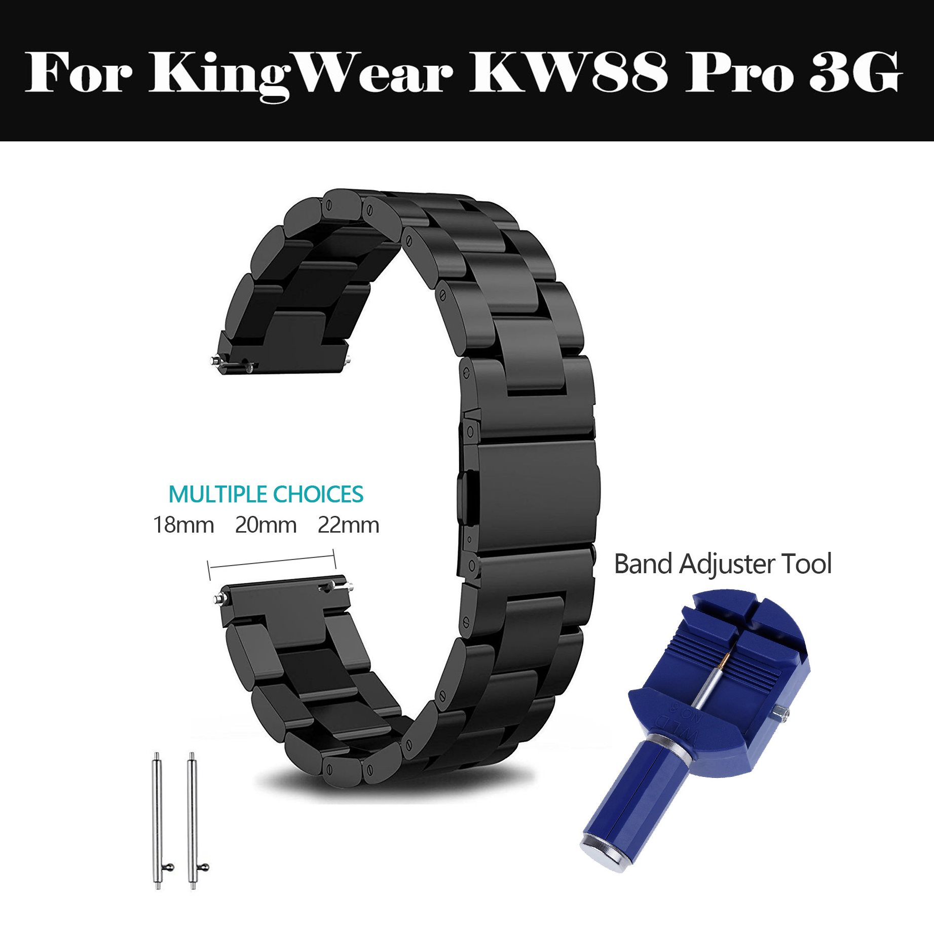18mm 20mm 22mm Stainless Steel <font><b>Watch</b></font> <font><b>Band</b></font> Strap smart <font><b>watch</b></font> Link bracelet black For KingWear <font><b>KW88</b></font> Pro 3G image