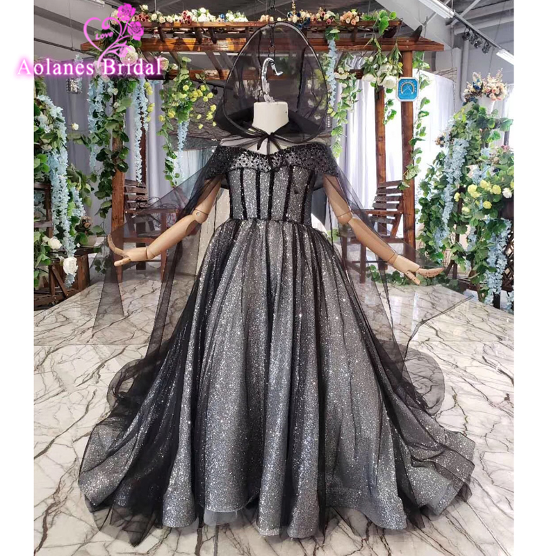 Crystals Black Girl Dresses 2019 First Holy Communion Dresses For Girls Ball Gown Wedding Party Dress Kids Evening Prom Dress