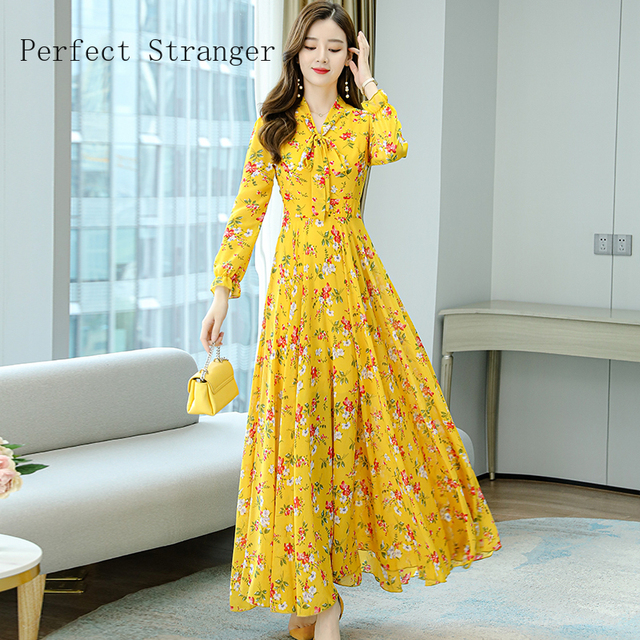 2020 Autumn  New Arrival High Quality Plus Size S-4XL Bow Collar Flower Printed Long Sleeve Women Long Chiffon Dress 5