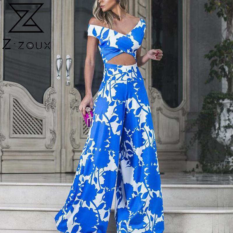 Z-zoux Women Jumpsuit V-neck Off Shoulder Print Rompers Womens Jumpsuit Hollow Out Long Wide Leg Bodysuit Women 2020 New Fashion