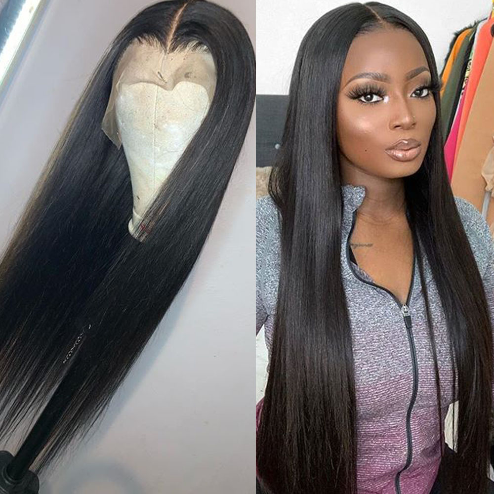 Lace Front Wigs Long Straight Synthetic Wigs For Black Women Natural Density Black Straight Wig Heat Resistant Fiber Hair Wig