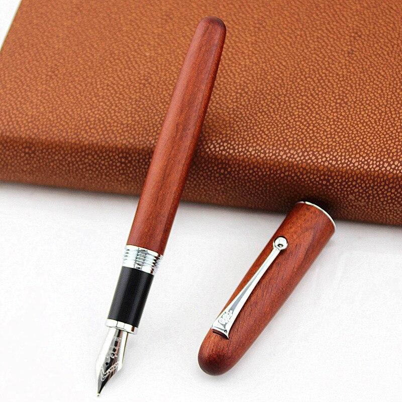 Nova jinhao caneta fonte de madeira natural