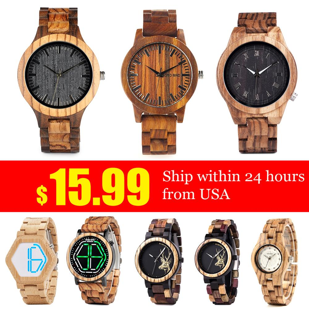 Fast Shipping From US BOBO BIRD Wood Watches For Men Watch Special Prices Wristwatches Erkek Kol Saati Quartz Watch Male