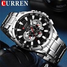 カレン男性腕時計防水クロノグラフメンズ腕時計軍事トップブランドの高級シルバーステンレス鋼スポーツ男性時計 8363