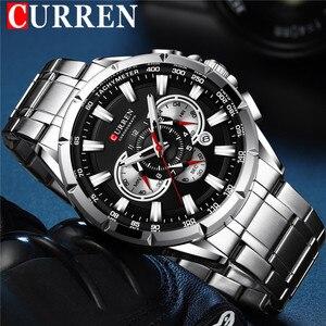 Image 1 - CURREN mężczyzna zegarek wodoodporny chronograf mężczyźni oglądać wojskowy Top marka luksusowe srebrny ze stali nierdzewnej Sport mężczyzna zegar 8363