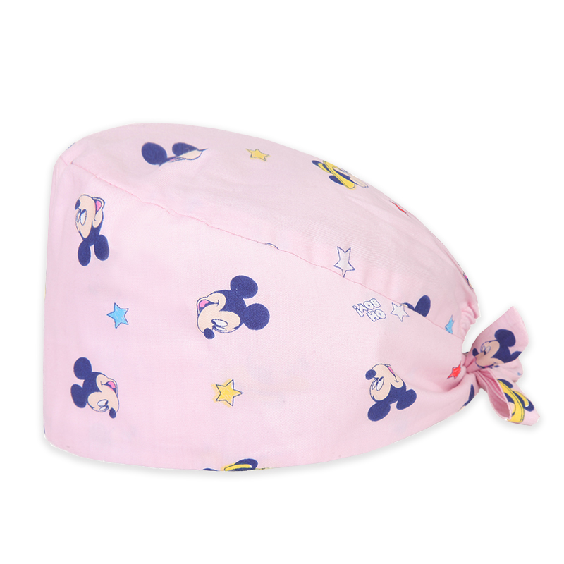 Mouse Print Surgical Tieback Cap Cotton Cute Nurse Medical Work Hat For Women And Men Adjustable Medicine Hat Cheap