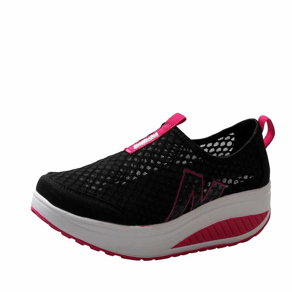 รองเท้าผู้หญิงตาข่ายรองเท้าแบนรองเท้าผ้าใบรองเท้าผู้หญิง Loafers Breathable Air Mesh Swing Wedges รองเท้า Breathable Flats #
