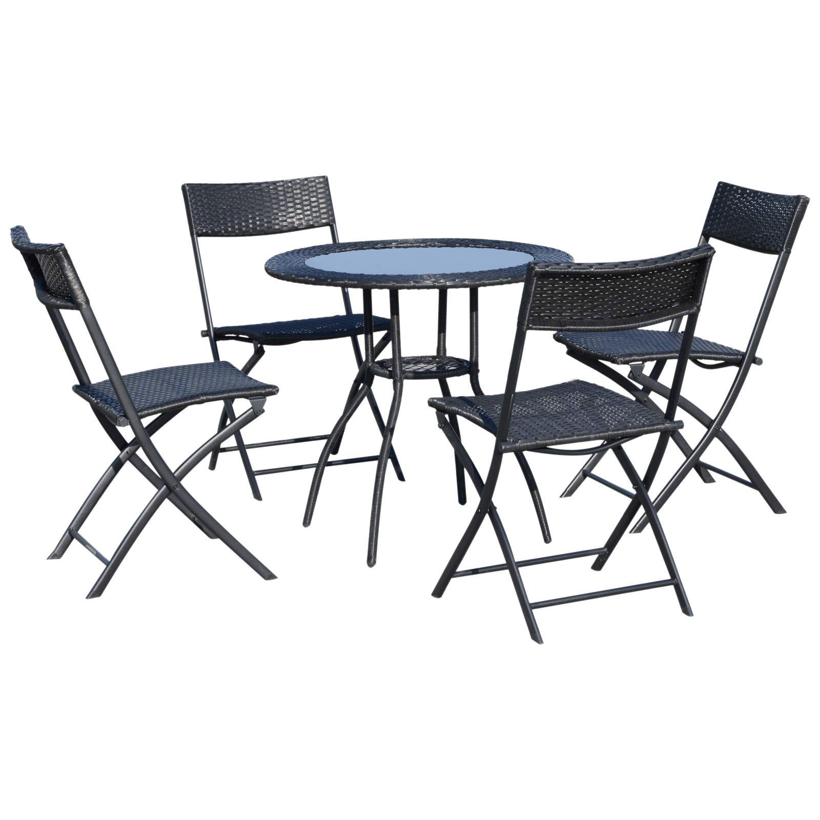 Outsunny 5 Set Garden Furniture 4 Folding Chairs 1 Tempered Glass Coffee Table Rattan