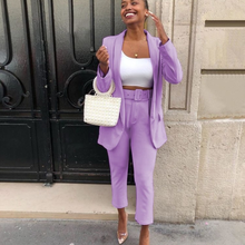 Classic Office Blazer Suit Two Piece Set 2021 Women Casual Commute Cropped Pants Suits Solid Color Mid Length Blazer with Pocket