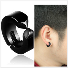 Punk Earrings Clip-Ear-Nails Earhole Male Black Korean-Version Titanium Anti-Allergy