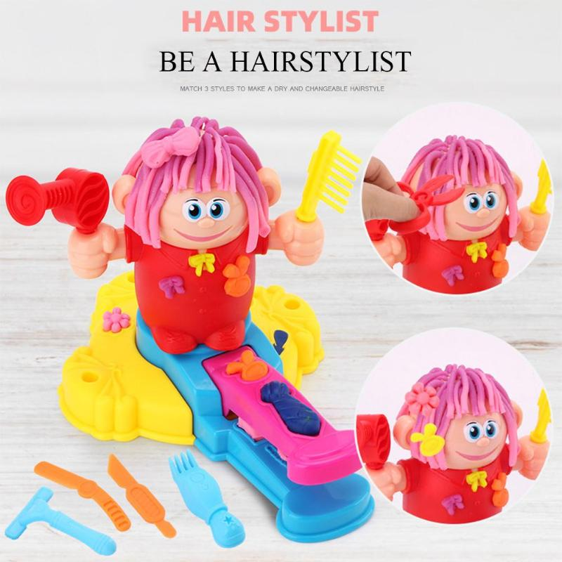 DIY Haircut Barber Color Clay Role Play Puzzle Toy Novel Interesting Personality Colourful Colors For Children Modeling Mud Toy