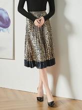 Velvet Pleated skirt Autumn winter clothes 2019 New pattern Fashion Medium length A word Tightness High waist Fold Skirt