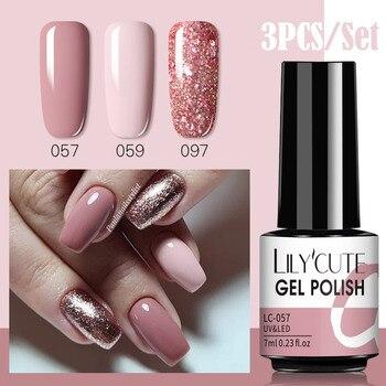 LILYCUTE 3 PCS Gel Polish Set Winter Color Glitter Sequins Matte Effect Gel Long Lasting Base Top Coat Nail Art Design Hybrid 1