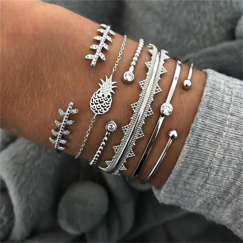 Vintage Silver Pineapple Crystal Leaf Bracelets & Bangles For Women Boho Adjustable Multiple Layers Bracelet Set Jewelry