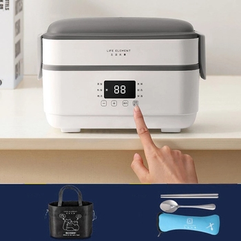 220V Multifunction Electric Lunch Box Double Stainless Steel Liner Insulation Portable Steam Heat Electric Rice Cooker Office