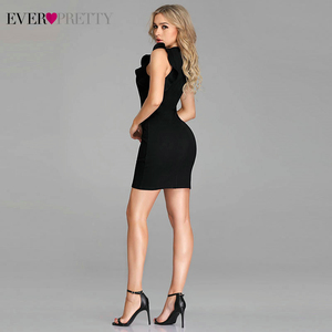 Image 3 - Seksowne czarne sukienki koktajlowe kiedykolwiek dość bez rękawów O Neck Ruched krótka mała sukienka syrenka formalne sukienki na przyjęcie Vestido Coctel