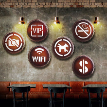 2019 Vintage Retro Metal estaño letreros LED inodoro forma de mensaje baño Wifi hombres mujeres WC No fumar lámpara de luz para bar Café panadería