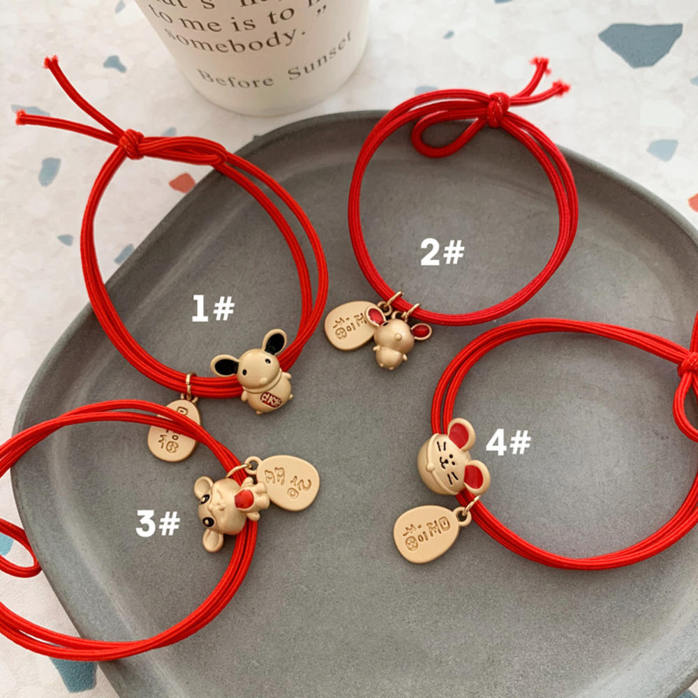 New Year Chinese Mouse Hair Accessories Cartoon Alloy Pendant Hair Ties Girls Lovely Hair Ropes Elastic Hairband New Arrival