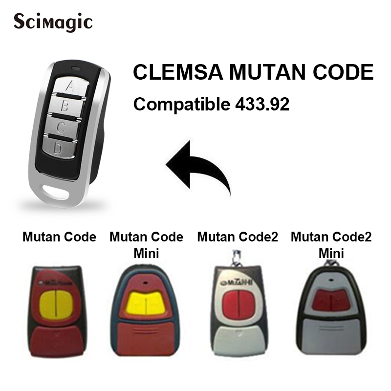 For CLEMSA MUTAN CODE 433.92MHz Remote Control Rolling Code MASTERCODE MV1 MV12 MV123 Gate Control CLEMSA 433.92MHz Command
