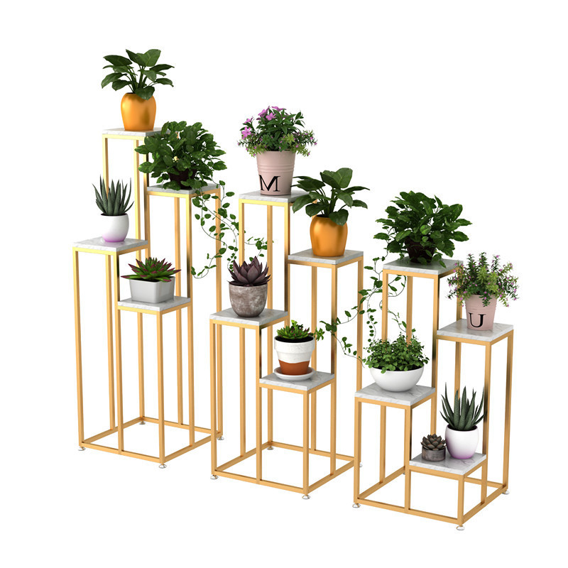 Nordic Metal Plant Stand Indoor Iron Flower Rack Creative Marble Garden Stand For Living Room Floor Flower Metal Shelf Balcony