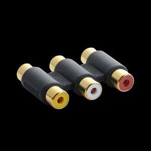 3RCA Vrouw tot Vrouw Koppeling AV Video Audio Extension Adapter Kabel Adapter Connector