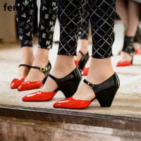 Women Shoes Sweety Mixed Color Pointed Toe Luxury Pumps New Brand Designer Spike Heels Chunky Cover Toe Lady D'Orsay Buckle Shoe