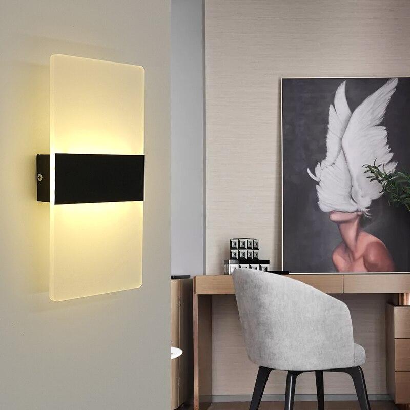 Oświetlenie naścienne led 220V 110V lampka nocna do sypialni salon balkon lampa na ścianę do przejścia na ścianę w korytarzu kinkiet lampa