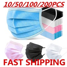 10-200pcs Mask Disposable Nonwove 3 Layer Filter Mask mouth Face mask filter safe Breathable Black Protective masks Fast Shippin
