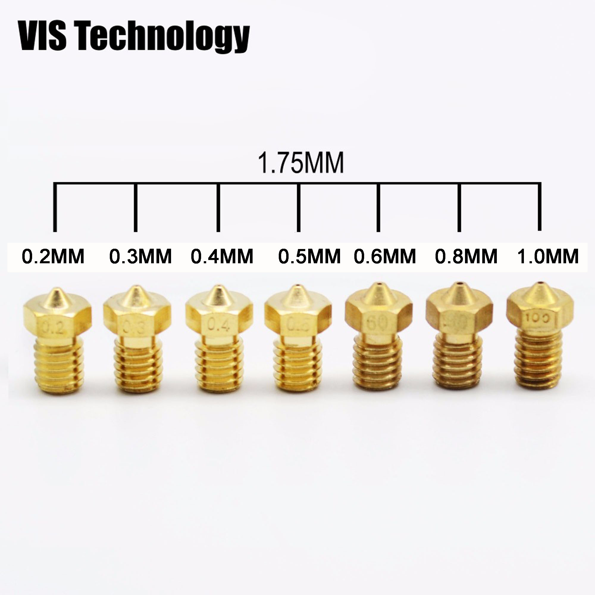 Free shipping!8pcs/lot 3D printer nozzle 0.2/0.3/0.4/0.5mm J-head V5/V6 Extruder nozzle For 1.75mm Filament Makerbot  RepRap Квадрокоптер