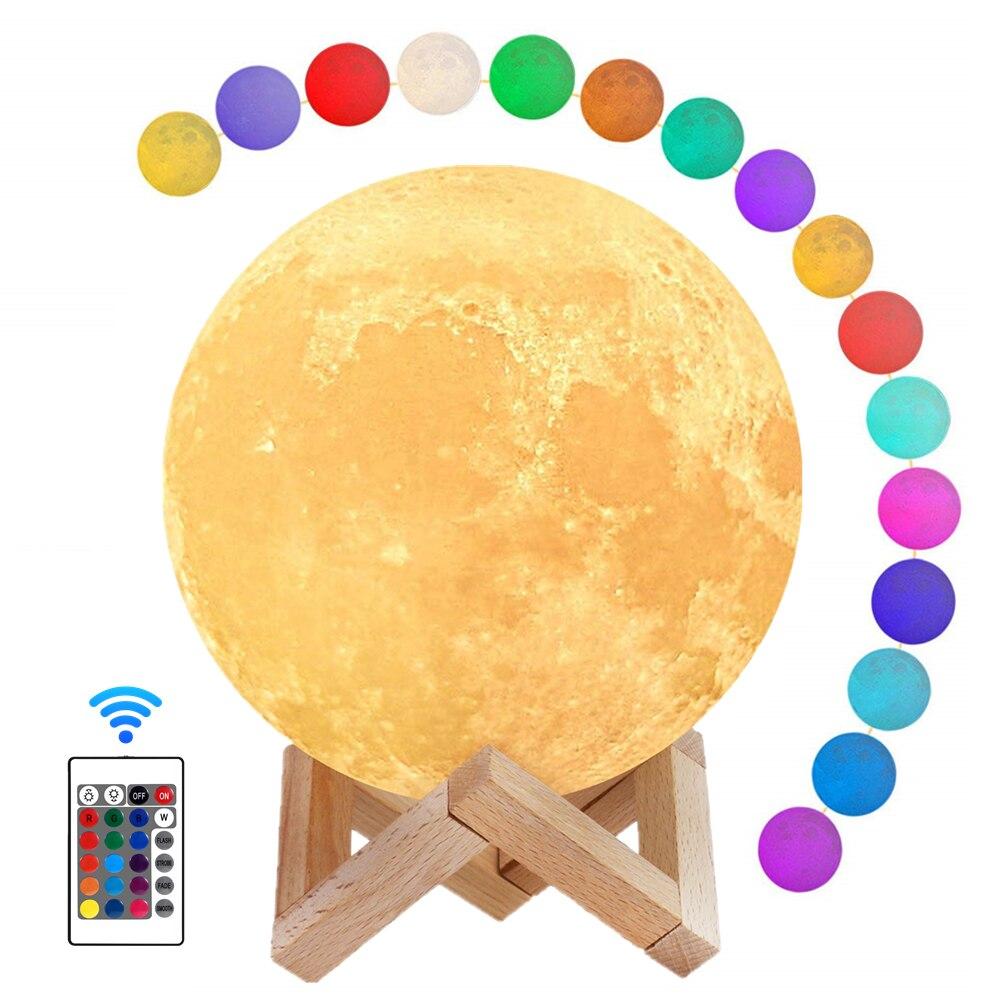 Светильник лунный детский с подставкой и таймером, 22 см, 16 цветов