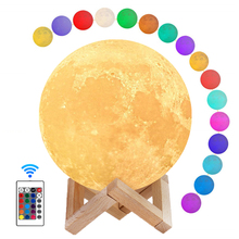 22CM Moon Light 3D Print Moon Lamp With Stand,16 colors Lunar Night Light with Timer Function,USB Bedroom Sleep Lights for Kids