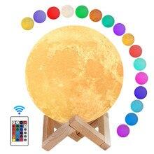 Luminária led de 22cm com estampa de lua, 16 cores com função temporizadora, luz noturna luzes usb para dormir, quarto de crianças