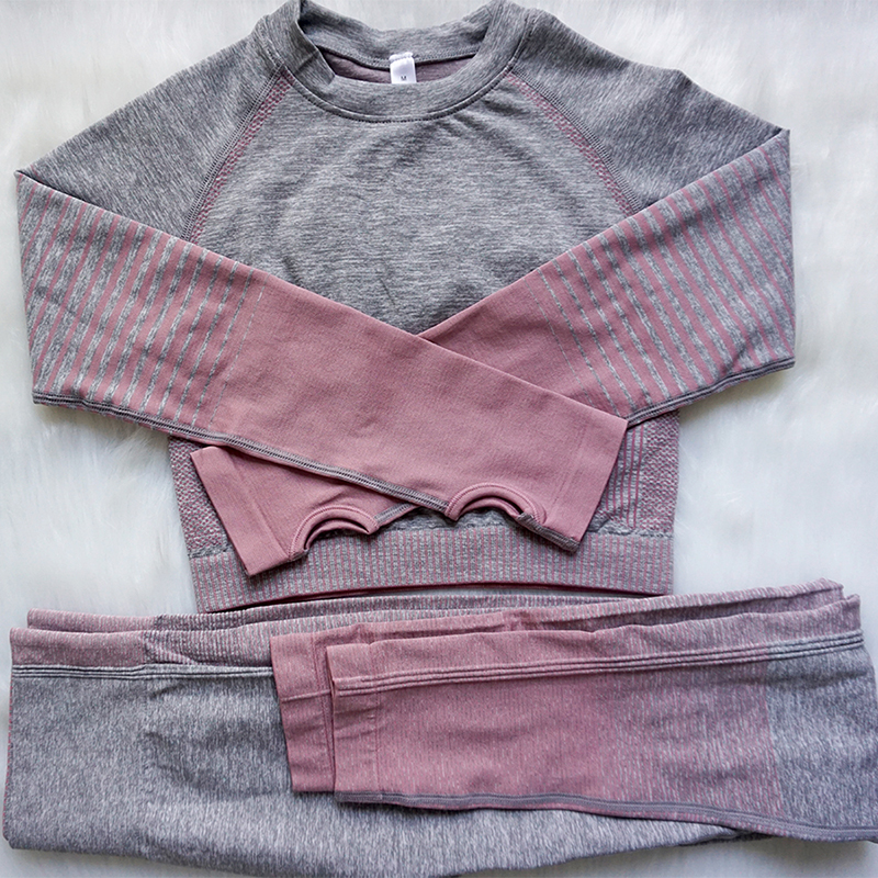 2 Piece Sets Seamless Woman Yoga Gradient Suits For Fitness Clothing Sports Kit Running Wear Women Sportswear For Female Gym
