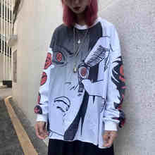 Anime tops Hip Hop harajuku T-shirt Uzumaki Sasuke Uchiha T-shirt Casual Vintage T-shirt Cartoon Gedruckt plus größe langarm(China)