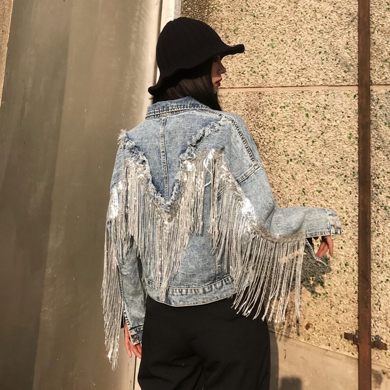 Jean Jacket Woman Fringed Sequined Denim Jacket 2020 Spring New Retro BF Loose Short Jeans Jacket Top Chaquetas Jackets NZY133