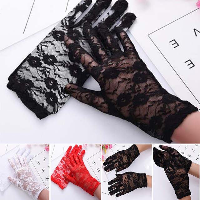 1Pairs New Party Sexy Dress Gloves Women Lady Lace Mittens Accessories Sunscreen Summer Full Finger Girls Lace Fashion Gloves