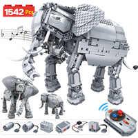 1542 pçs criativo elétrico controle remoto máquinas blocos de construção legoingly técnica rc elefante animais tijolos brinquedos para crianças