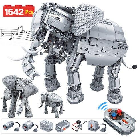 erbo 1542 pcs criativo eletrico controle remoto maquinas blocos de construcao tecnica rc elefante animais