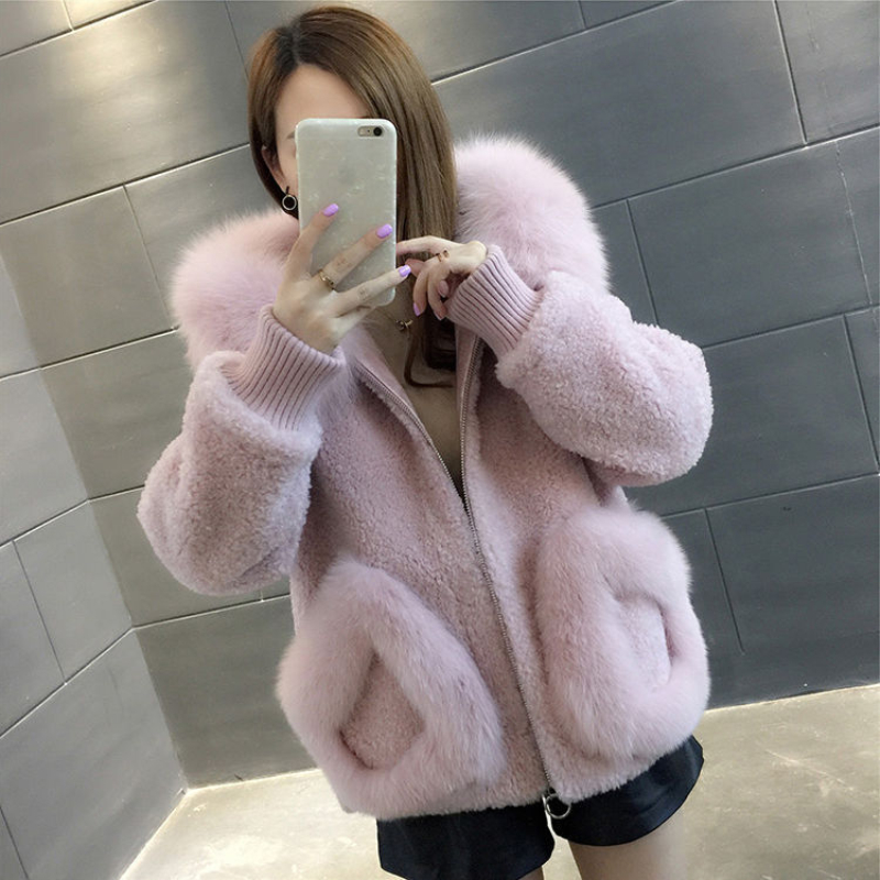 High Quality Warm Latest Winter Female Sheepskin Coats Pure Color Fox Collars Faux Fur Furs Big Yards Cashmere Coat D190917