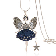 цена на CZ Rhinestone Jewelry Vintage Silver Necklaces Women Long Sweater Chain Fairy Girl Pendant Necklace For Wman CH19Nk9005