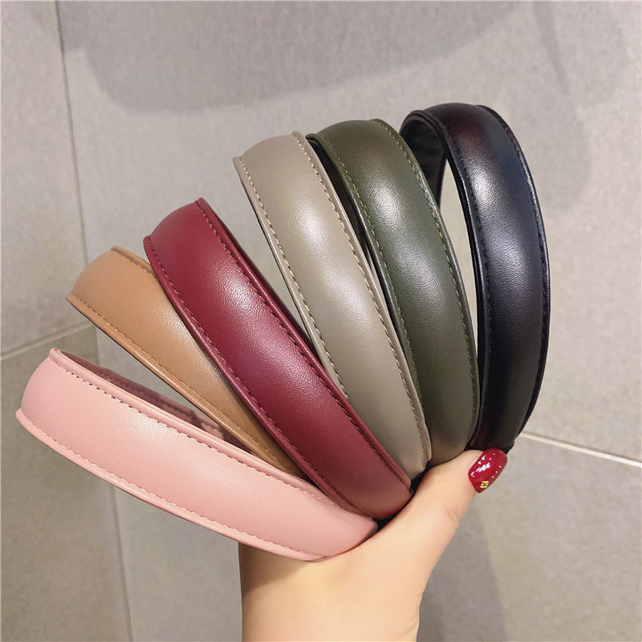 Haimeikang Fashion Bezel Headwear Korean Style Chic Leather Hair Hoop Hairband Wash Face Pressure Hair Headband Hair Accessories