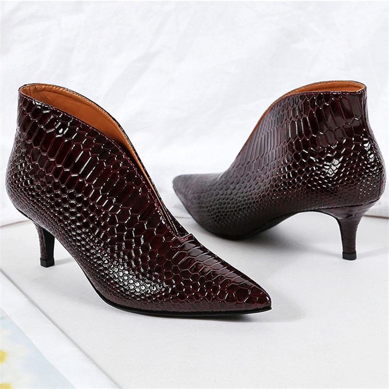 Snake Patent Leather Stilettos Pumps Women Shoes Tip Head V Mouth High Heels Women Shoes 2020 Spring Small Thin Heel Lady Pumps (8)