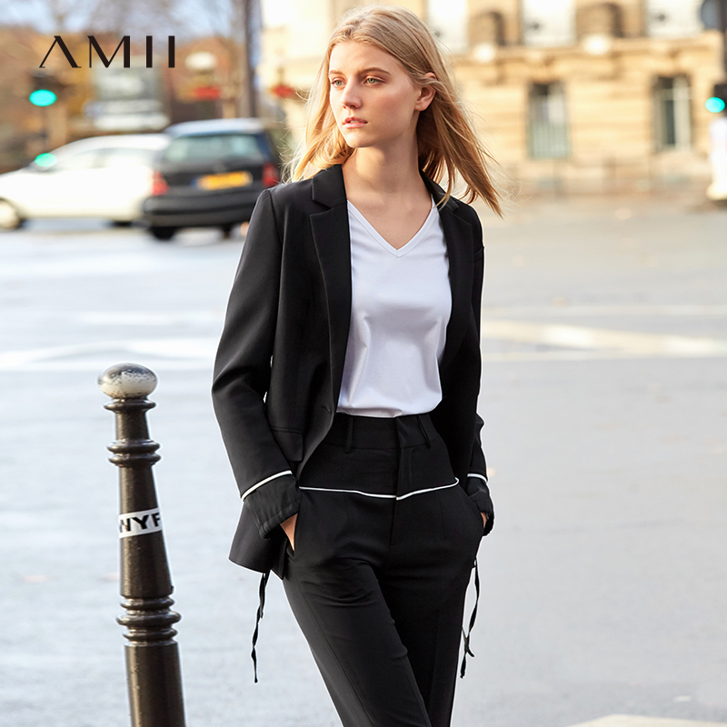 Amii Minimalism Spring Olstyle Black Lapel Coat Causal Loose One Button Coat 11960016