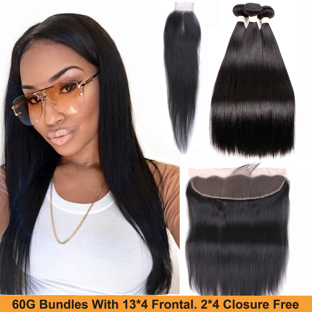 Sapphire Straight Hair Bundles With Frontal Human Hair Bundles With Frontal Closure Brazilian Hair Weave Bundles  2*4 Closure