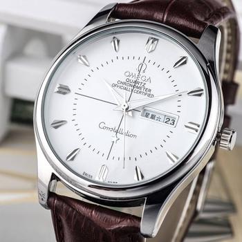 Omega-2020 nowe męskie zegarki oryginalne męskie importowane skóry wołowej z podwójnym kalendarzem trend sezonowe zegarki dla mężczyzn i kobiet tanie i dobre opinie QUARTZ Bransoletka zapięcie STAINLESS STEEL 3Bar Luxury ru 22mm ROUND 10mm Luminous Chronograph Kompletna kalendarz Odporne na wodę