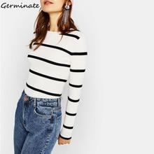 Germinate Stripe Sweater Women Casual Long Sleeve Harajuku Knitted Streetwear Pull Turtleneck Pullover Vintage Sweter Jumper